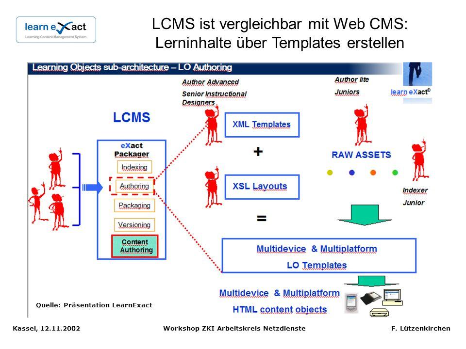 Kassel, 12.11.2002 Workshop ZKI Arbeitskreis Netzdienste F. Lützenkirchen LearnExact E-Learning Suite: LCMS + LMS + Digital Repository Quelle: Präsent