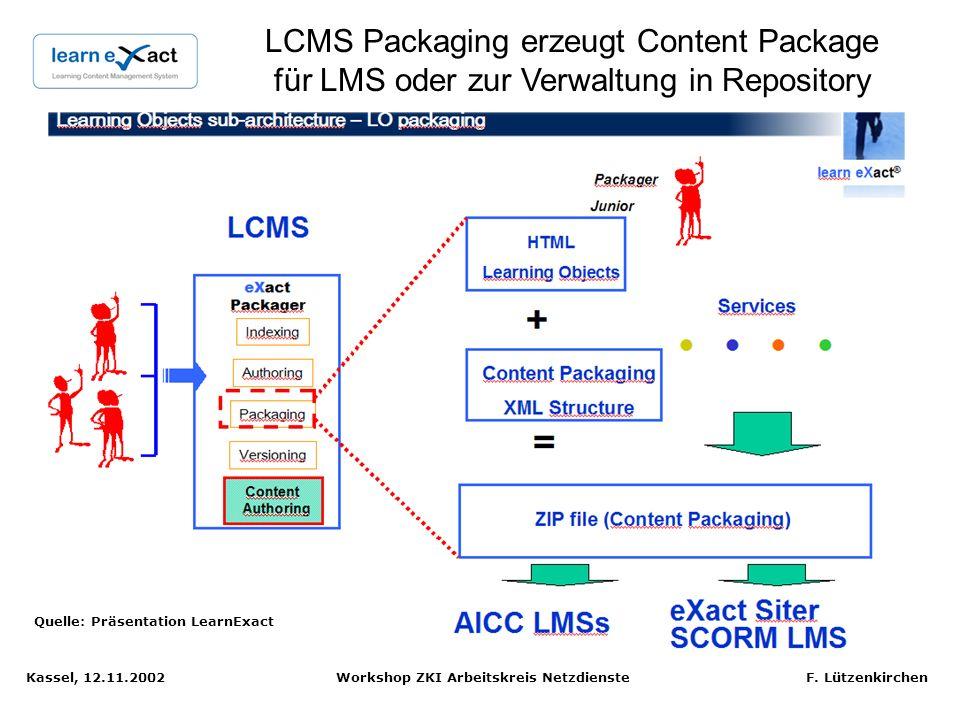 Kassel, 12.11.2002 Workshop ZKI Arbeitskreis Netzdienste F. Lützenkirchen LCMS ist vergleichbar mit Web CMS: Lerninhalte über Templates erstellen Quel