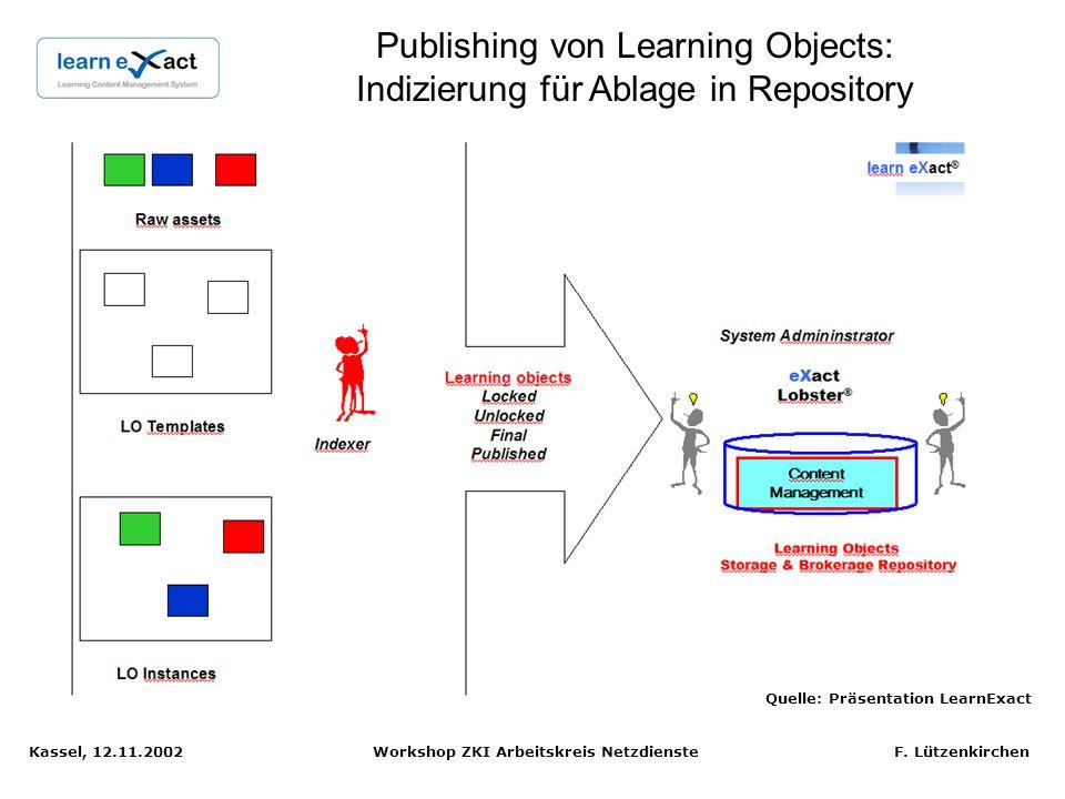 Kassel, 12.11.2002 Workshop ZKI Arbeitskreis Netzdienste F. Lützenkirchen LCMS Packaging erzeugt Content Package für LMS oder zur Verwaltung in Reposi