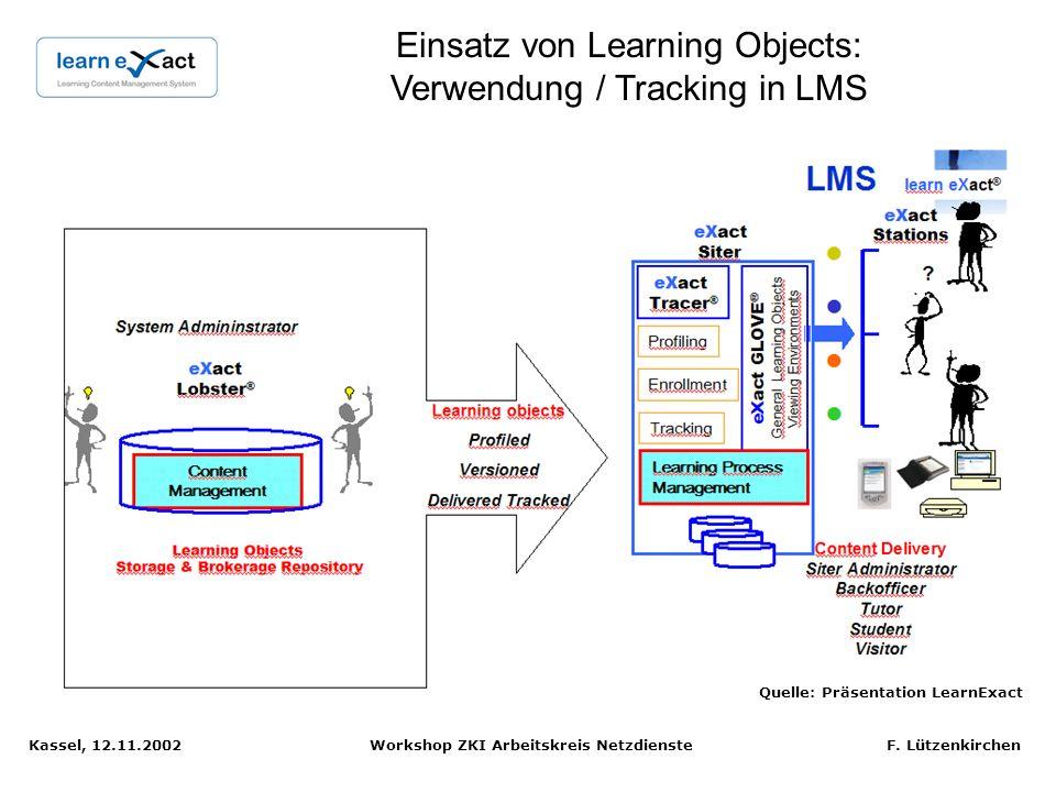 Kassel, 12.11.2002 Workshop ZKI Arbeitskreis Netzdienste F. Lützenkirchen Publishing von Learning Objects: Indizierung für Ablage in Repository Quelle