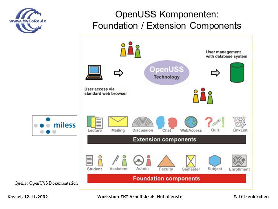 Kassel, 12.11.2002 Workshop ZKI Arbeitskreis Netzdienste F. Lützenkirchen OpenUSS (CampusSource NRW): E-Learning-Plattform der Universität Münster