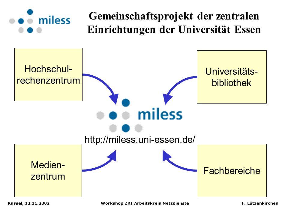 Kassel, 12.11.2002 Workshop ZKI Arbeitskreis Netzdienste F. Lützenkirchen Verschiedenste Formate Multimediales Material:Ziele in MILESS: Unterstützung