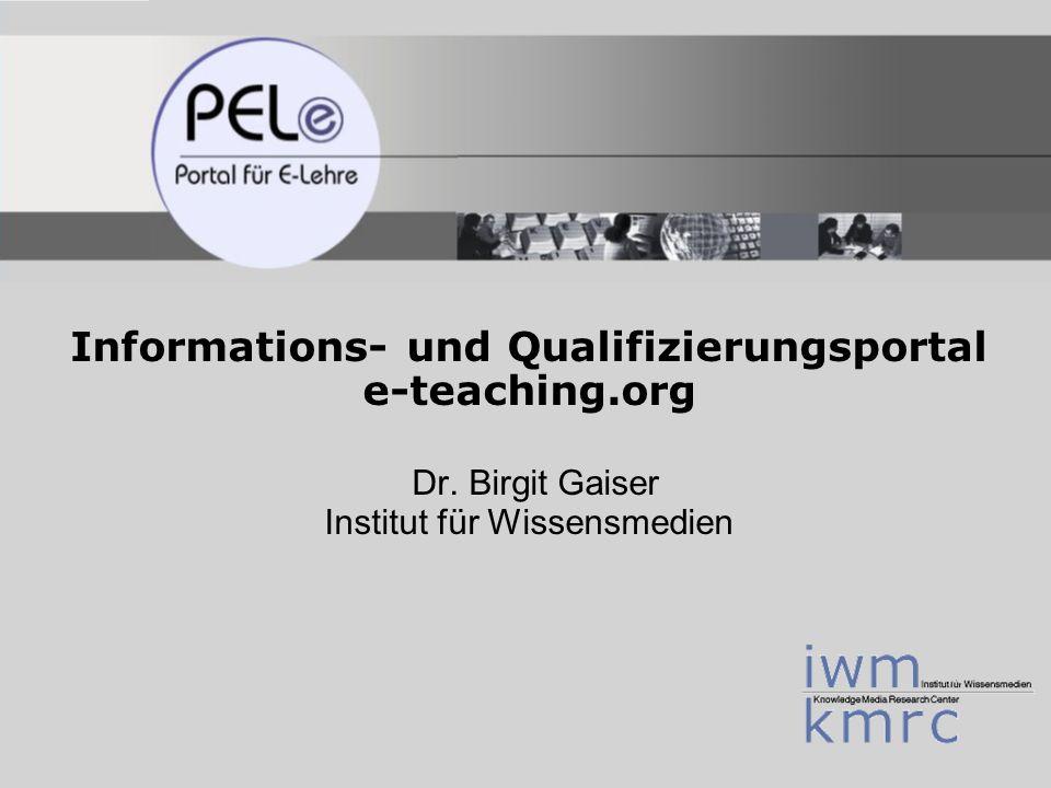 E-Learning Day Wedel, 23.06.06 Folie 22 PELe - Portal für E-Lehre Institut für Wissensmedien www.e-teaching.org Hochschullinks und -ergänzungen