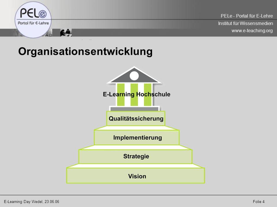 E-Learning Day Wedel, 23.06.06 Folie 5 PELe - Portal für E-Lehre Institut für Wissensmedien www.e-teaching.org Organisationsentwicklung