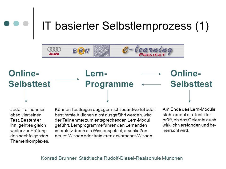 Konrad Brunner, Städtische Rudolf-Diesel-Realschule München IT basierter Selbstlernprozess (1) Jeder Teilnehmer absolviert einen Test. Besteht er ihn,