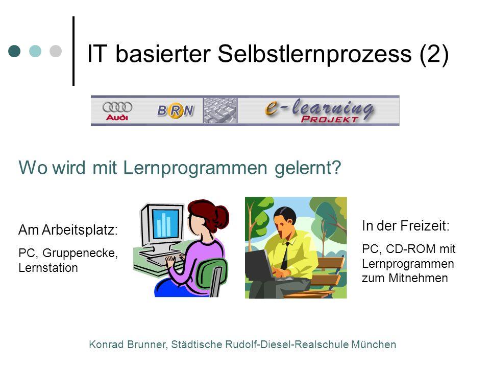 Konrad Brunner, Städtische Rudolf-Diesel-Realschule München Wo wird mit Lernprogrammen gelernt? Am Arbeitsplatz: PC, Gruppenecke, Lernstation In der F