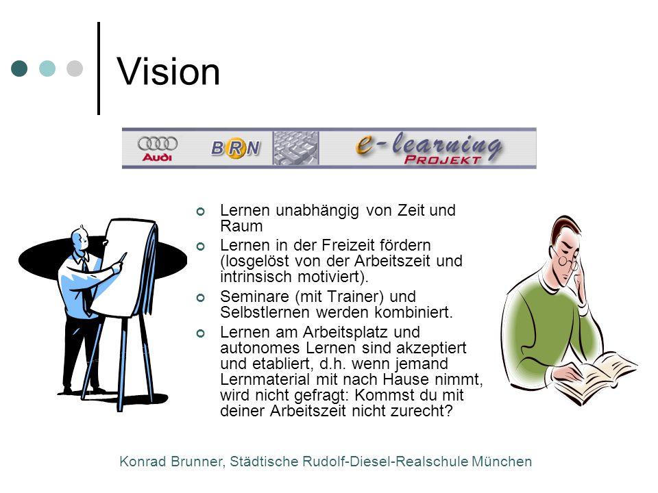 Konrad Brunner, Städtische Rudolf-Diesel-Realschule München Vision Lernen unabhängig von Zeit und Raum Lernen in der Freizeit fördern (losgelöst von d