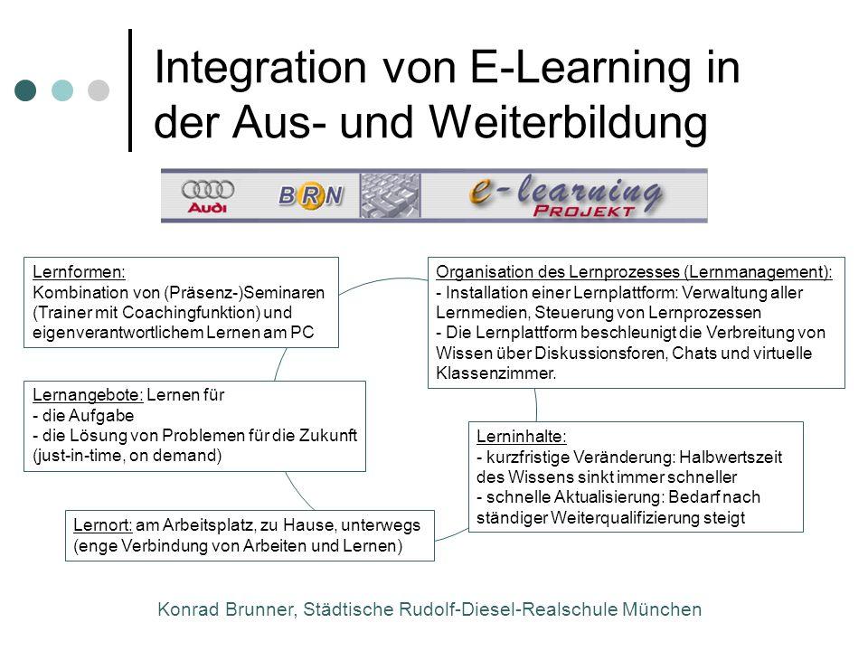 Konrad Brunner, Städtische Rudolf-Diesel-Realschule München Integration von E-Learning in der Aus- und Weiterbildung Organisation des Lernprozesses (L