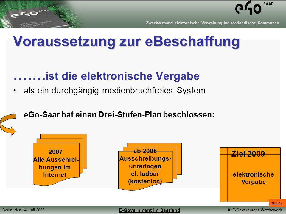 Zweckverband elektronische Verwaltung für saarländische Kommunen SAAR Berlin, den 14. Juli 20088. E-Government Wettbewerb E-Government im Saarland Vor