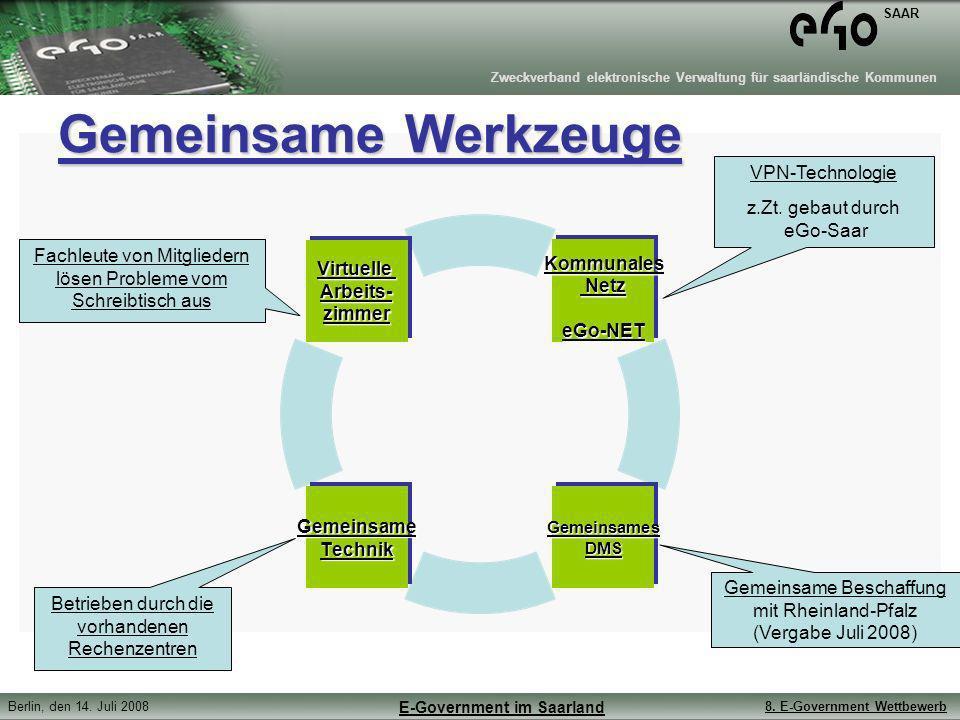 Zweckverband elektronische Verwaltung für saarländische Kommunen SAAR Berlin, den 14. Juli 20088. E-Government Wettbewerb E-Government im Saarland Gem