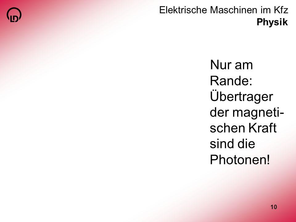 10 Elektrische Maschinen im Kfz Physik Nur am Rande: Übertrager der magneti- schen Kraft sind die Photonen!