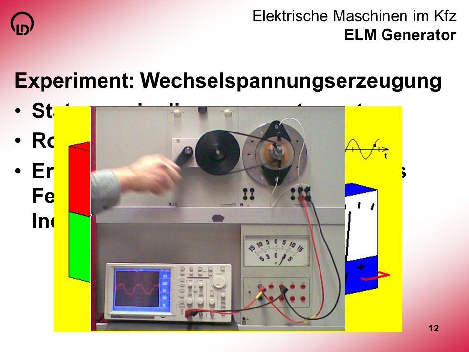 12 Elektrische Maschinen im Kfz ELM Generator Experiment: Wechselspannungserzeugung Stator zweipolig permanenterregt Rotor Doppel-T Erkenntnis: konsta