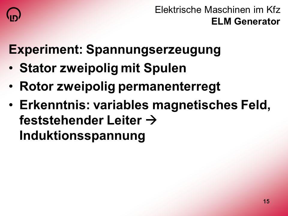 15 Elektrische Maschinen im Kfz ELM Generator Experiment: Spannungserzeugung Stator zweipolig mit Spulen Rotor zweipolig permanenterregt Erkenntnis: v