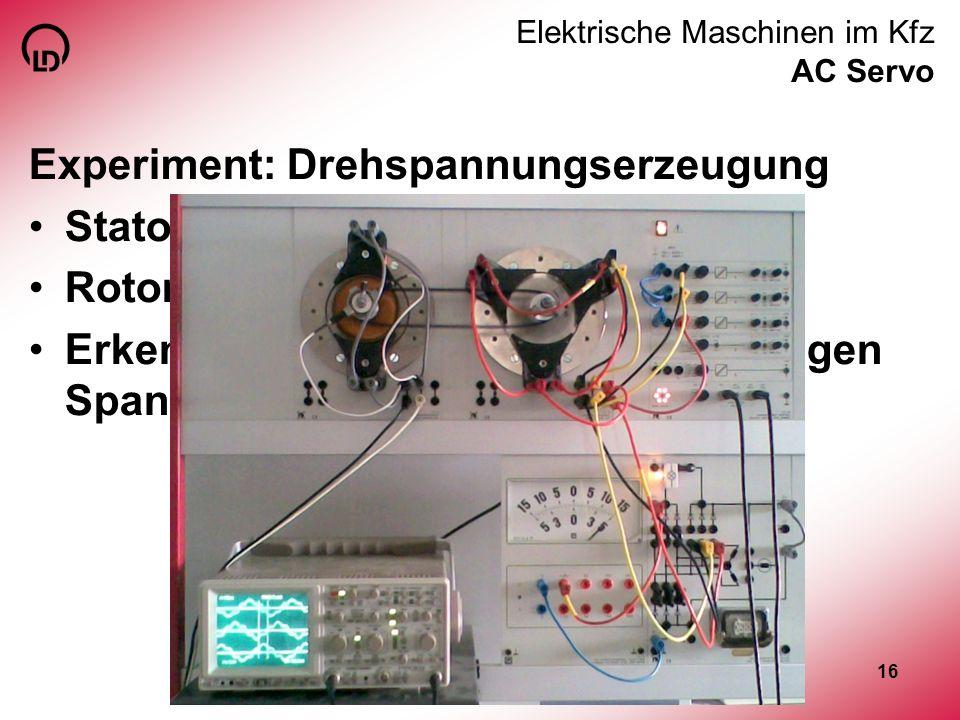 16 Elektrische Maschinen im Kfz AC Servo Experiment: Drehspannungserzeugung Stator dreipolig mit Spulen Rotor zweipolig permanenterregt Erkenntnis: Er