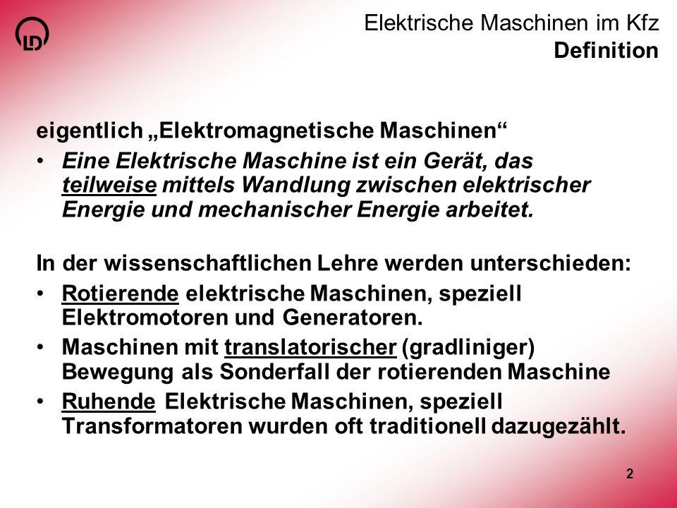 3 Elektrische Maschinen im Kfz Definition Elektrische Maschinen RuhendeNicht-ruhende (Transformator) RotationTranslation (Linearmotor) MotorGenerator...