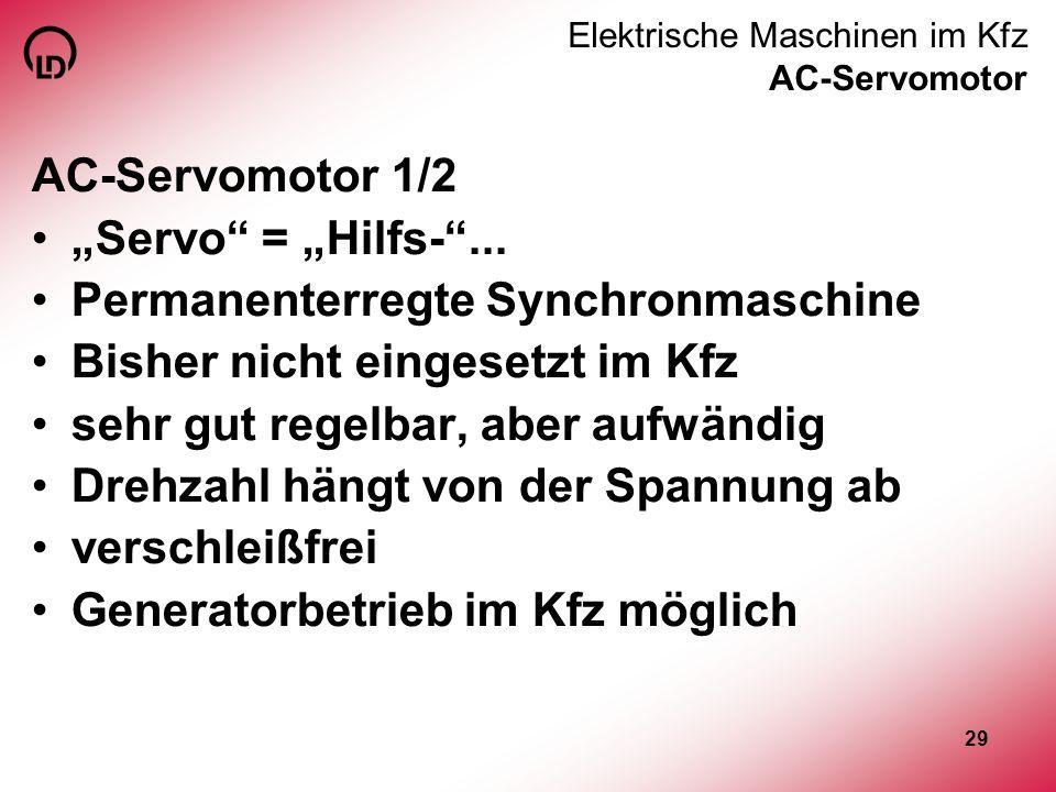 29 Elektrische Maschinen im Kfz AC-Servomotor AC-Servomotor 1/2 Servo = Hilfs-... Permanenterregte Synchronmaschine Bisher nicht eingesetzt im Kfz seh