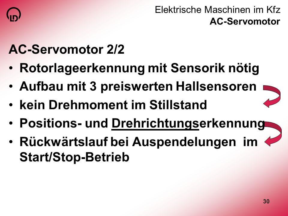 30 Elektrische Maschinen im Kfz AC-Servomotor AC-Servomotor 2/2 Rotorlageerkennung mit Sensorik nötig Aufbau mit 3 preiswerten Hallsensoren kein Drehm