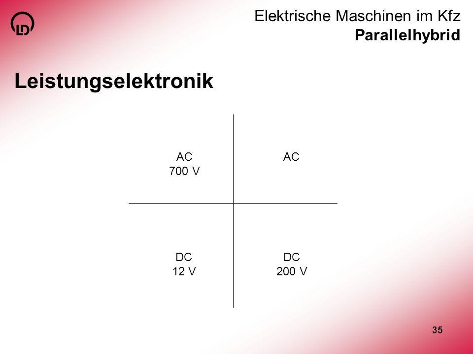 35 Elektrische Maschinen im Kfz Parallelhybrid Leistungselektronik AC 700 V AC DC 200 V DC 12 V