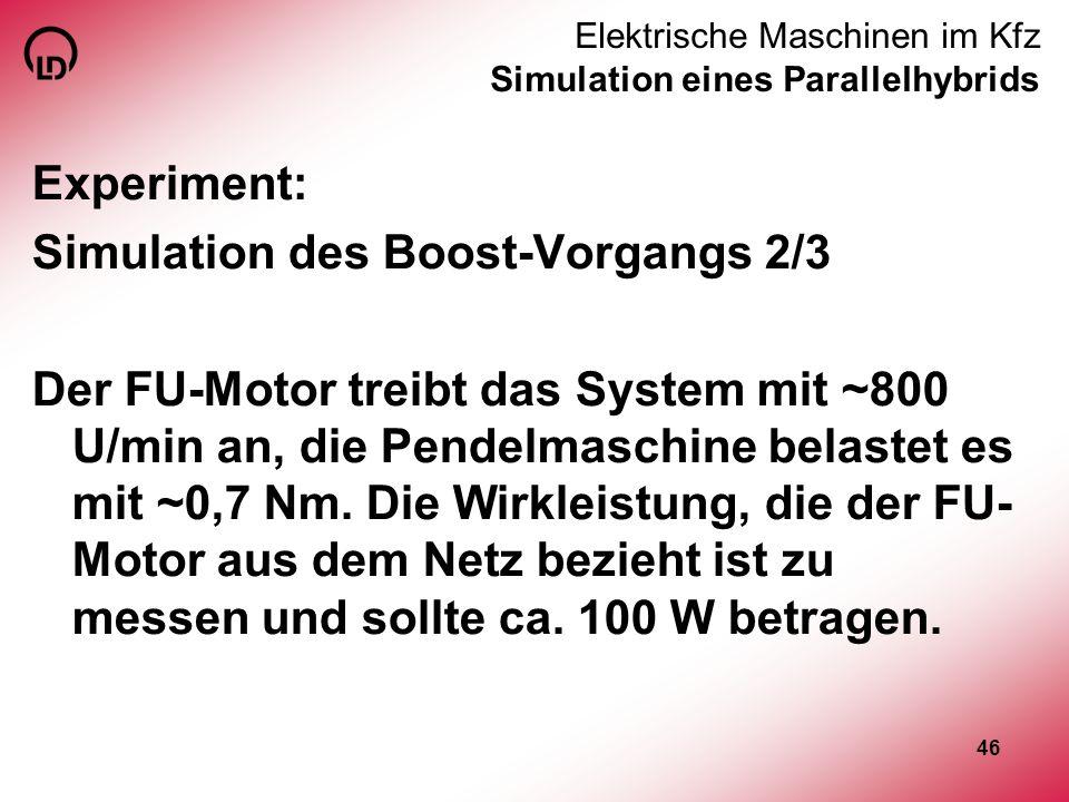 46 Elektrische Maschinen im Kfz Simulation eines Parallelhybrids Experiment: Simulation des Boost-Vorgangs 2/3 Der FU-Motor treibt das System mit ~800