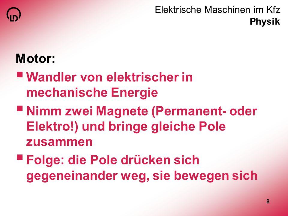 8 Motor: Wandler von elektrischer in mechanische Energie Nimm zwei Magnete (Permanent- oder Elektro!) und bringe gleiche Pole zusammen Folge: die Pole