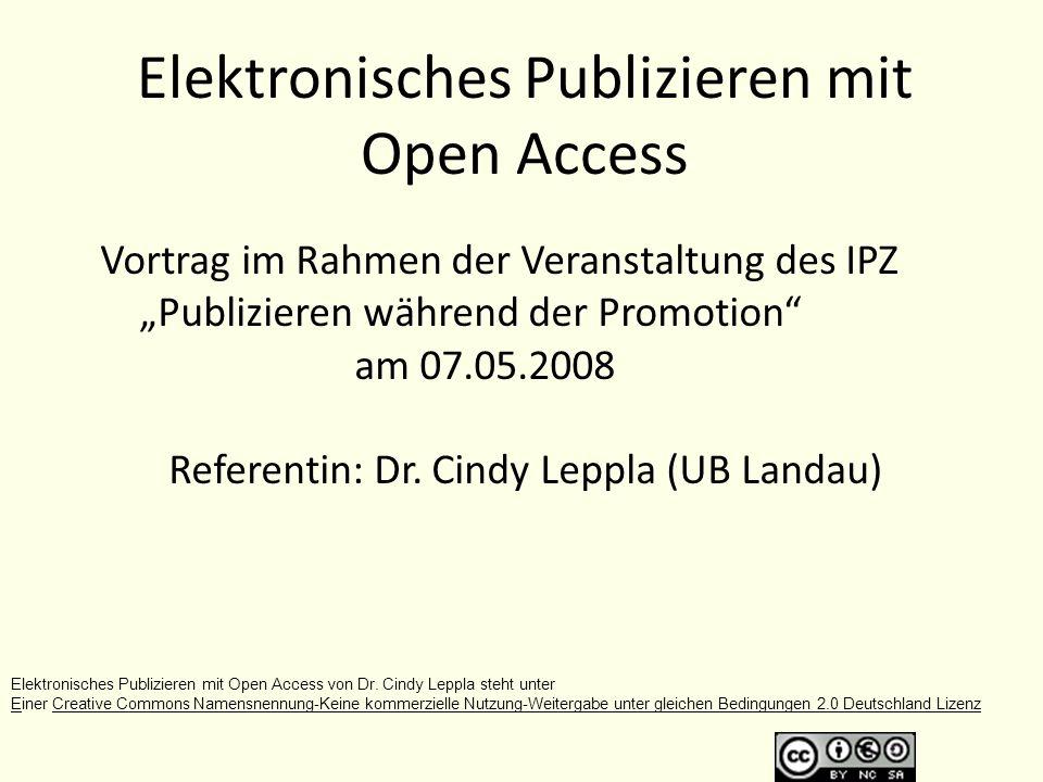 Was erwartet Sie.Was versteht man unter Open Access (OA).
