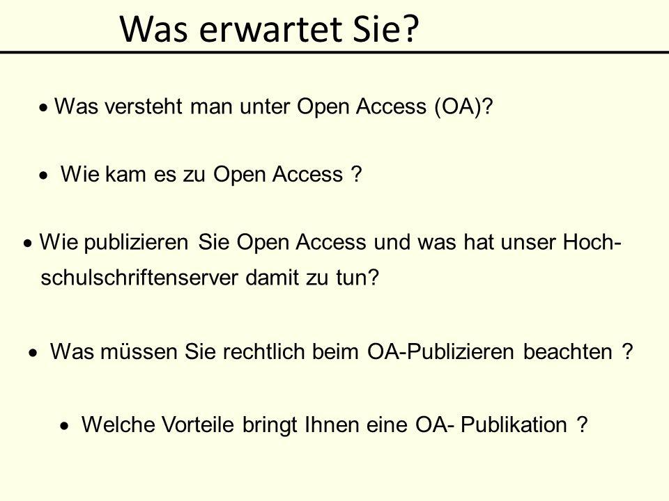 Definition von Open Access Weltweit kostenfreier, uneingeschränkter Zugang zu elektronischen Versionen Nutzung ohne finanzielle, technische, gesetzliche Barrieren: Vervielfältigung, Verbreitung, öffentliche Wiedergabe, Bearbeitung, kommerzielle Nutzung unter korrekter Benennung der Urheberschaft Budapest Open Access Initiative 2001 Entgeltfrei publizierte wiss.