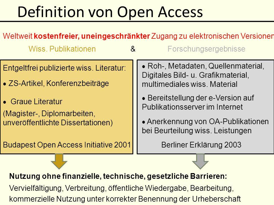 Gründe für Open Access Öffentliche Hand Wissenschaftler Verlag Bibliothek ManuskriptPublikation LektoratRedaktion Peer Review Druckkosten- zuschuss.