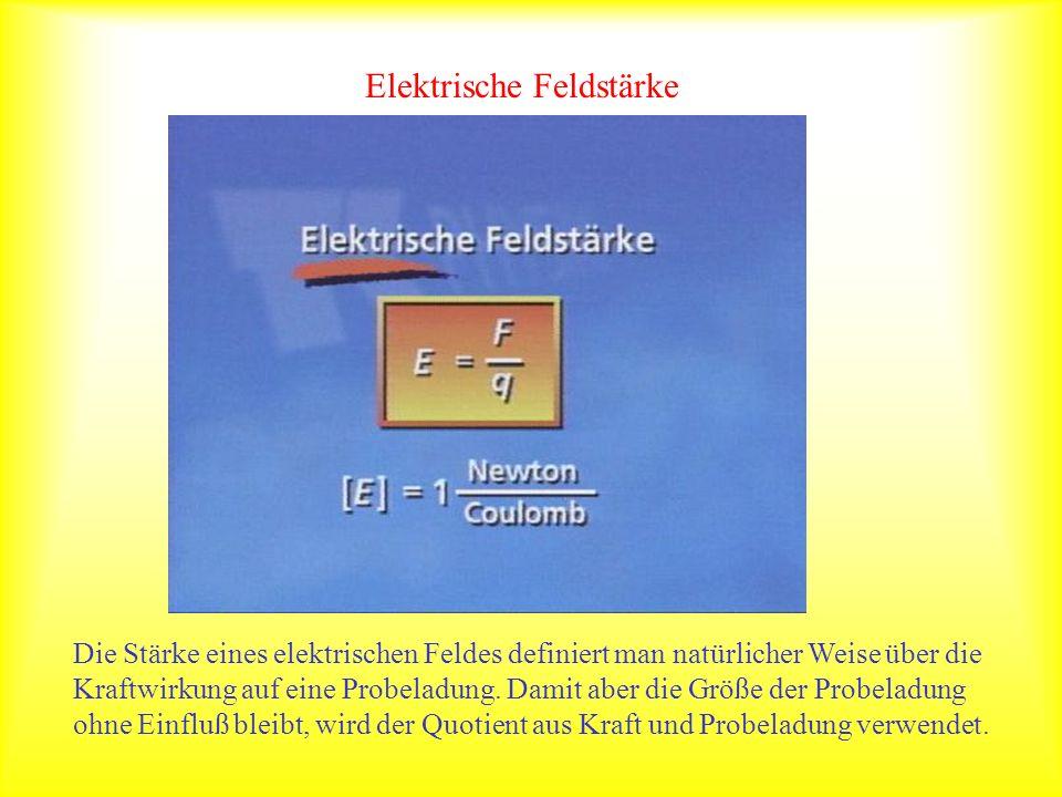 Elektrische Feldstärke Die Stärke eines elektrischen Feldes definiert man natürlicher Weise über die Kraftwirkung auf eine Probeladung. Damit aber die