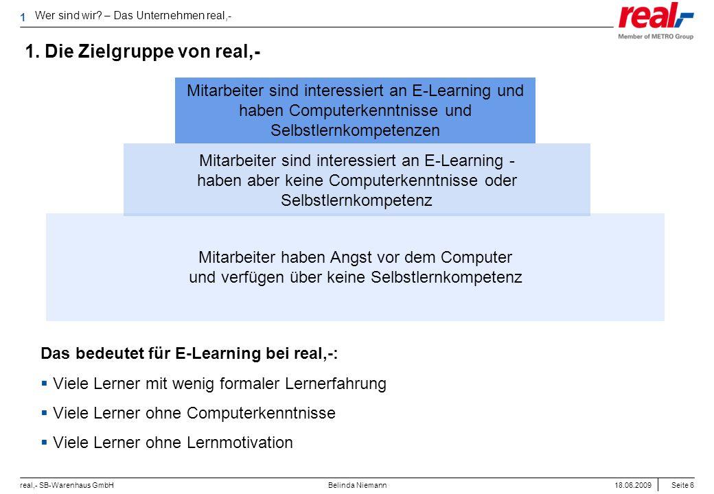 Seite 6 real,- SB-Warenhaus GmbH 18.06.2009 Belinda Niemann 1. Die Zielgruppe von real,- Das bedeutet für E-Learning bei real,-: Viele Lerner mit weni