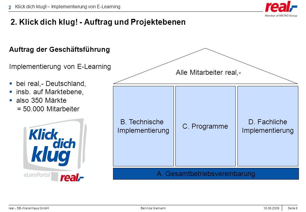 Seite 8 real,- SB-Warenhaus GmbH 18.06.2009 Belinda Niemann 2. Klick dich klug! - Auftrag und Projektebenen Klick dich klug! – Implementierung von E-L