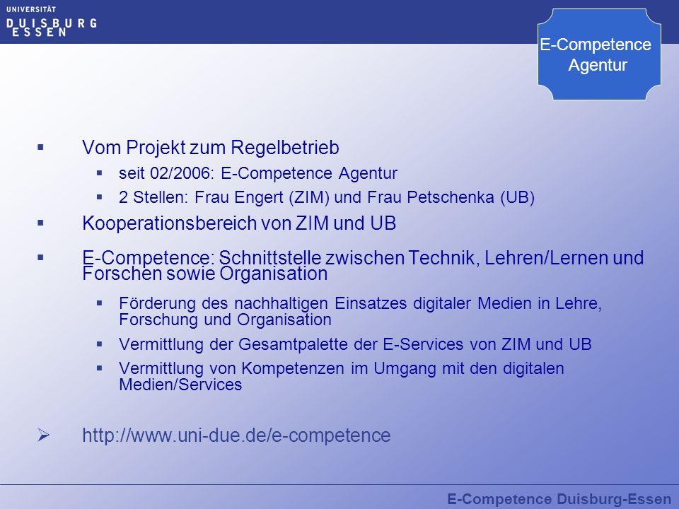 E-Competence Duisburg-Essen Vom Projekt zum Regelbetrieb seit 02/2006: E-Competence Agentur 2 Stellen: Frau Engert (ZIM) und Frau Petschenka (UB) Koop