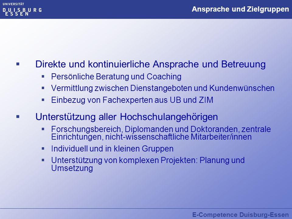 E-Competence Duisburg-Essen Ansprache und Zielgruppen Direkte und kontinuierliche Ansprache und Betreuung Persönliche Beratung und Coaching Vermittlun