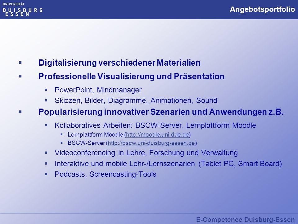 E-Competence Duisburg-Essen Angebotsportfolio Digitalisierung verschiedener Materialien Professionelle Visualisierung und Präsentation PowerPoint, Min