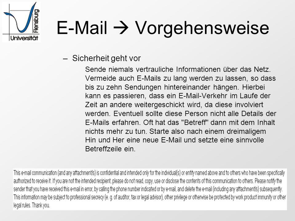 E-Mail Vorgehensweise –Sicherheit geht vor Sende niemals vertrauliche Informationen über das Netz. Vermeide auch E-Mails zu lang werden zu lassen, so