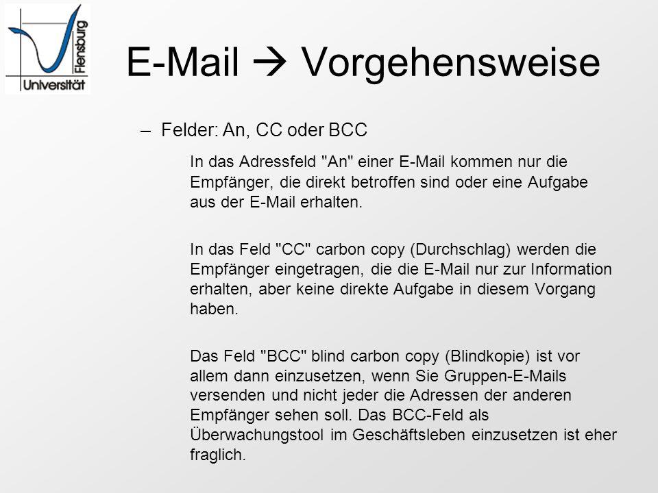 E-Mail Vorgehensweise –Felder: An, CC oder BCC In das Adressfeld
