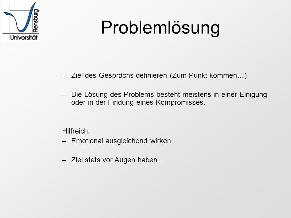 Problemlösung –Ziel des Gesprächs definieren (Zum Punkt kommen…) –Die Lösung des Problems besteht meistens in einer Einigung oder in der Findung eines