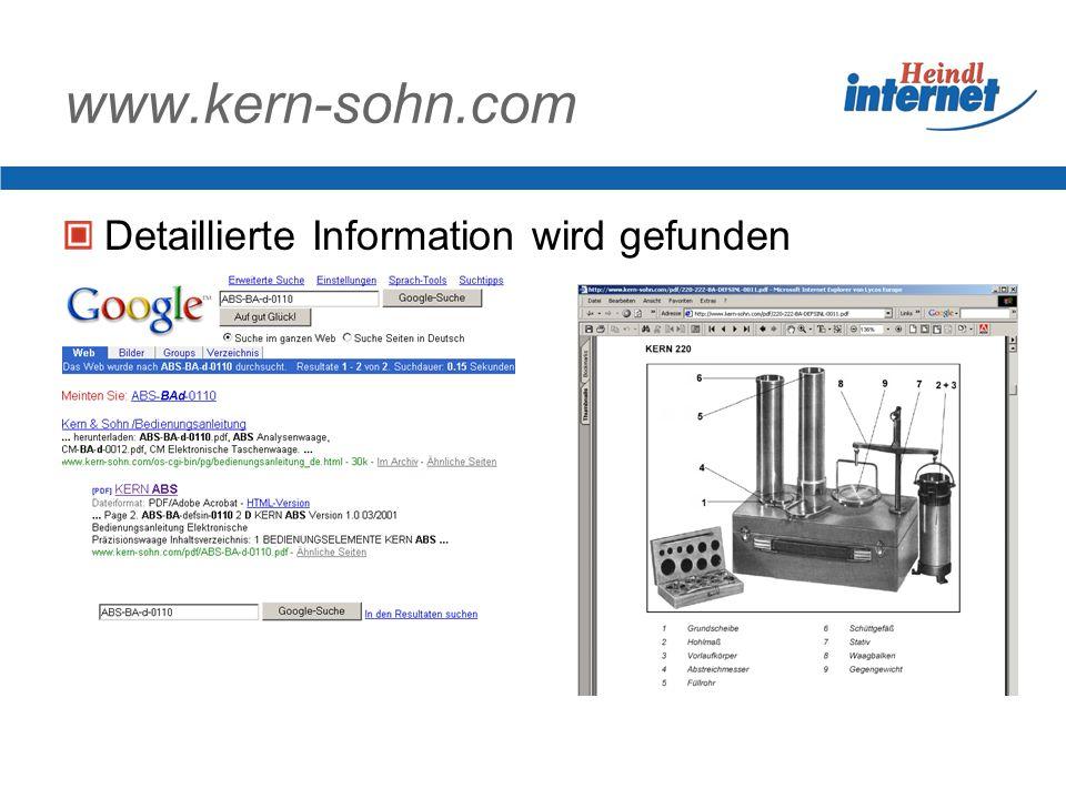 www.kern-sohn.com Detaillierte Information wird gefunden