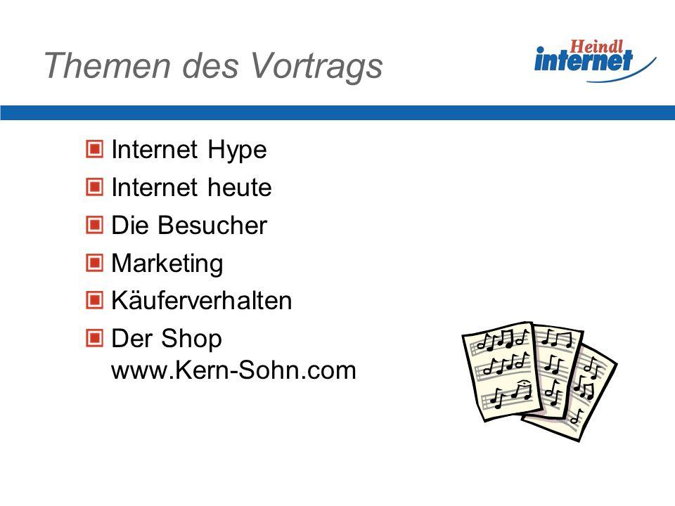 Internet Hype: was stimmt Verdopplung der Teilnehmerzahl alle 18 Monate 2002: 26 Mio.