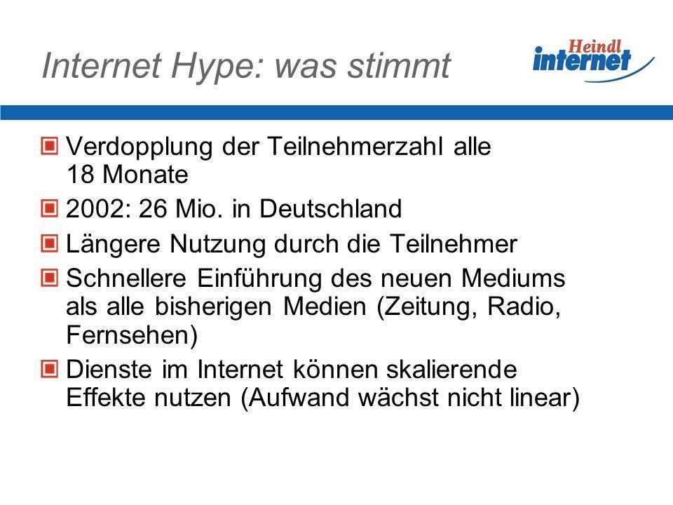Internet Hype: was stimmt Verdopplung der Teilnehmerzahl alle 18 Monate 2002: 26 Mio. in Deutschland Längere Nutzung durch die Teilnehmer Schnellere E