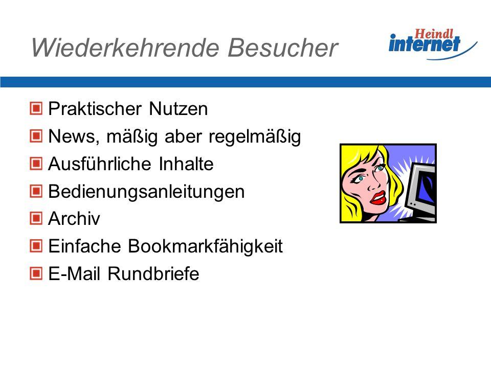Wiederkehrende Besucher Praktischer Nutzen News, mäßig aber regelmäßig Ausführliche Inhalte Bedienungsanleitungen Archiv Einfache Bookmarkfähigkeit E-