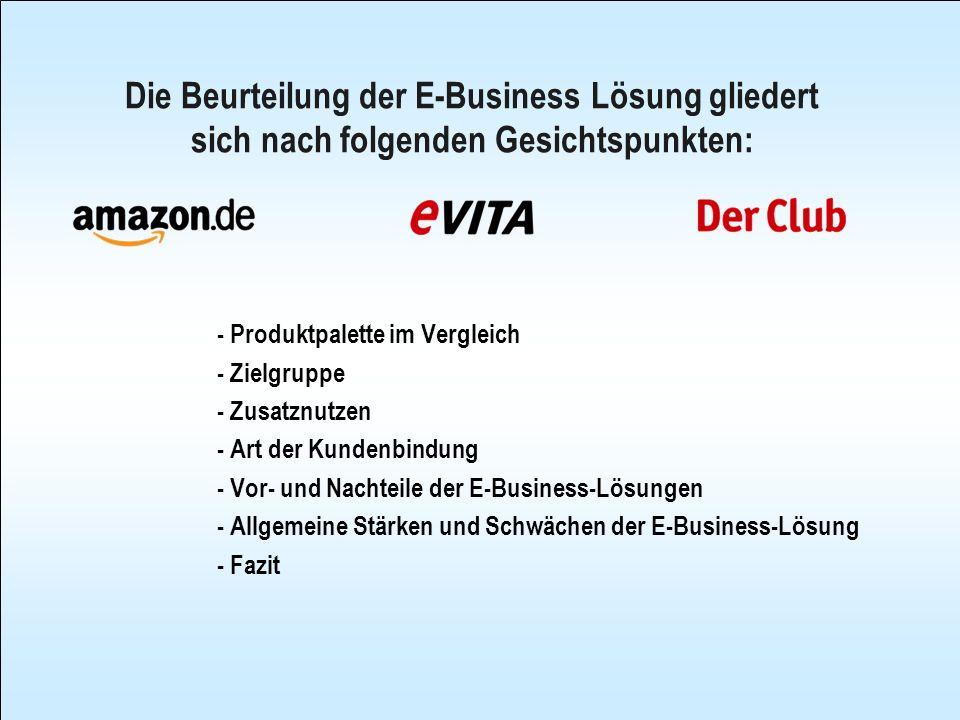 Die Beurteilung der E-Business Lösung gliedert sich nach folgenden Gesichtspunkten: - Produktpalette im Vergleich - Zielgruppe - Zusatznutzen - Art de