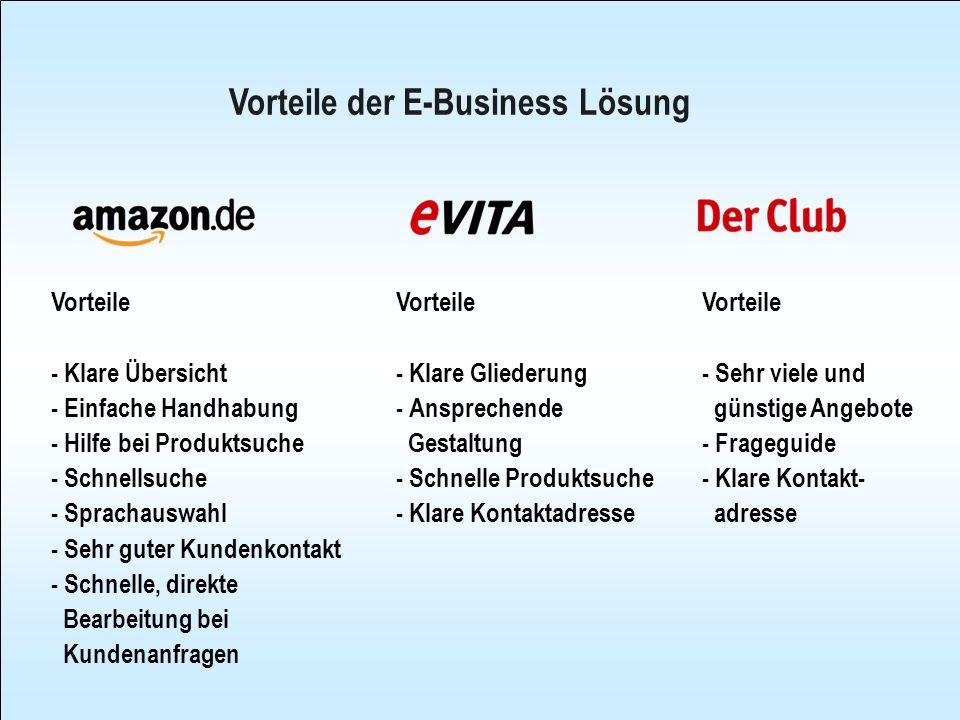 Nachteile der E-Business Lösung Nachteile - Produktinfo gering - Nicht kostengünstig, nur reguläre Preise - Wenige Sonderangebote Nachteile - Zu große Produktauswahl, 1,5 Mio.