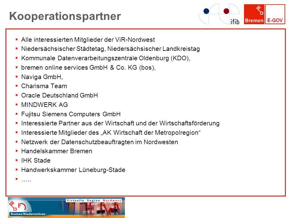 E-GOV Kooperationspartner Alle interessierten Mitglieder der ViR-Nordwest Niedersächsischer Städtetag, Niedersächsischer Landkreistag Kommunale Datenv
