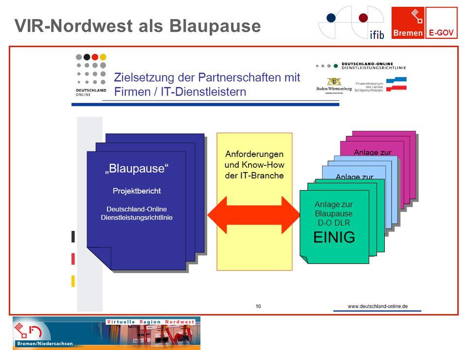 E-GOV VIR-Nordwest als Blaupause EINIG Anlage zur Blaupause D-O DLR EINIG
