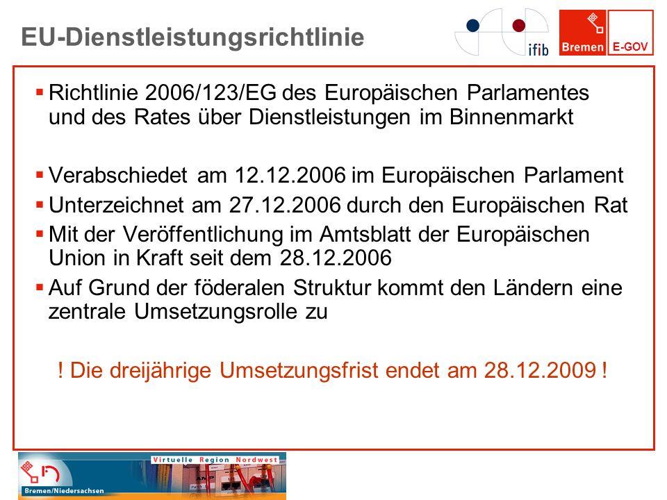 E-GOV EU-Dienstleistungsrichtlinie Richtlinie 2006/123/EG des Europäischen Parlamentes und des Rates über Dienstleistungen im Binnenmarkt Verabschiede