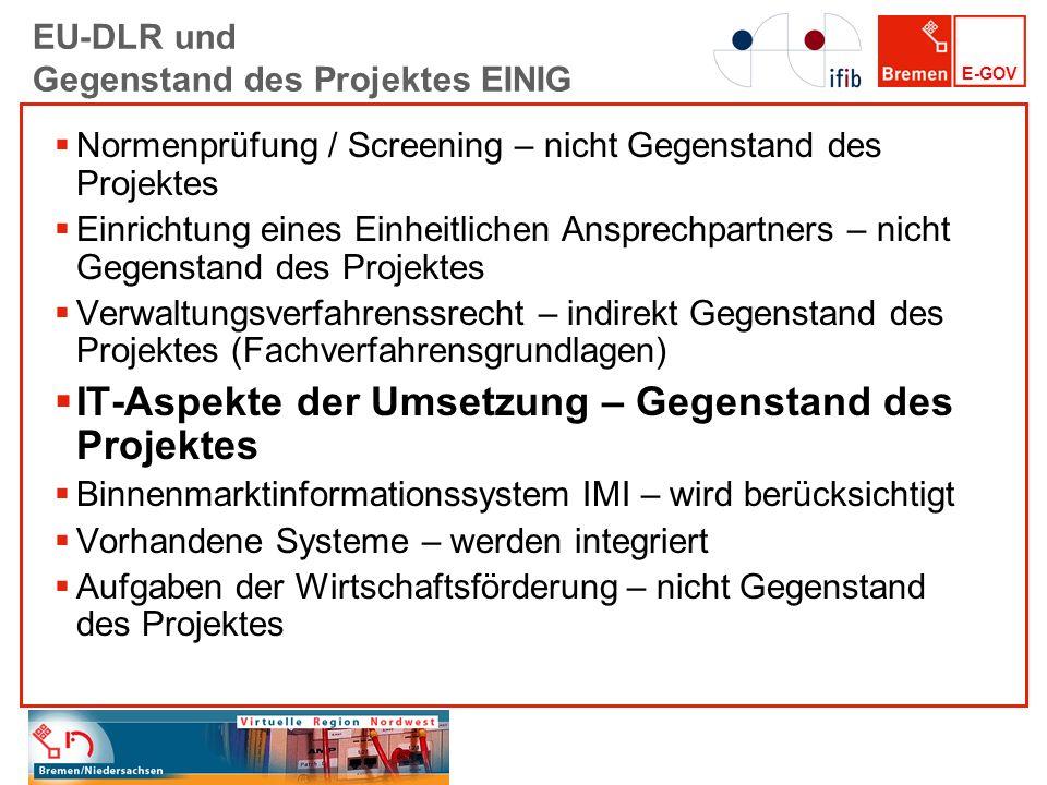E-GOV EU-DLR und Gegenstand des Projektes EINIG Normenprüfung / Screening – nicht Gegenstand des Projektes Einrichtung eines Einheitlichen Ansprechpar