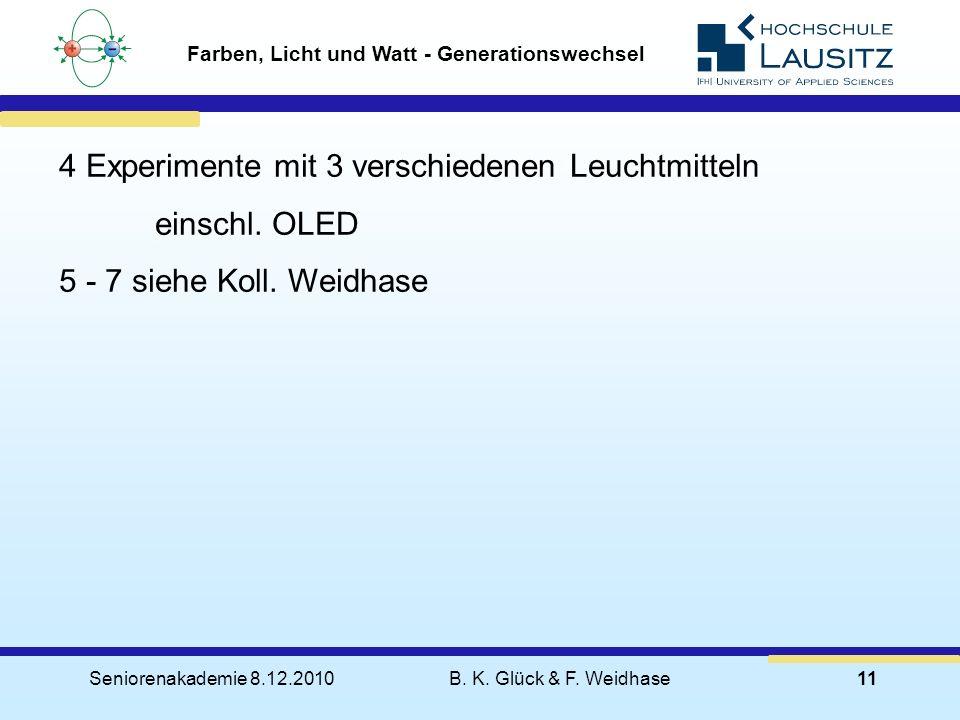 Seniorenakademie 8.12.2010B. K. Glück & F. Weidhase11 Farben, Licht und Watt - Generationswechsel 4 Experimente mit 3 verschiedenen Leuchtmitteln eins