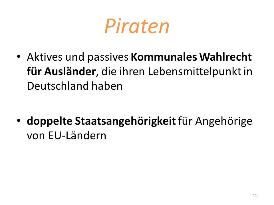 Piraten Aktives und passives Kommunales Wahlrecht für Ausländer, die ihren Lebensmittelpunkt in Deutschland haben doppelte Staatsangehörigkeit für Ang