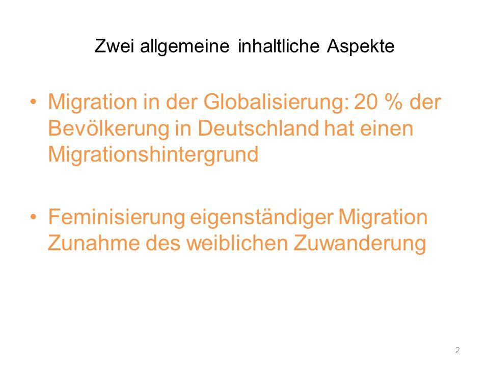 Zwei allgemeine inhaltliche Aspekte Migration in der Globalisierung: 20 % der Bevölkerung in Deutschland hat einen Migrationshintergrund Feminisierung