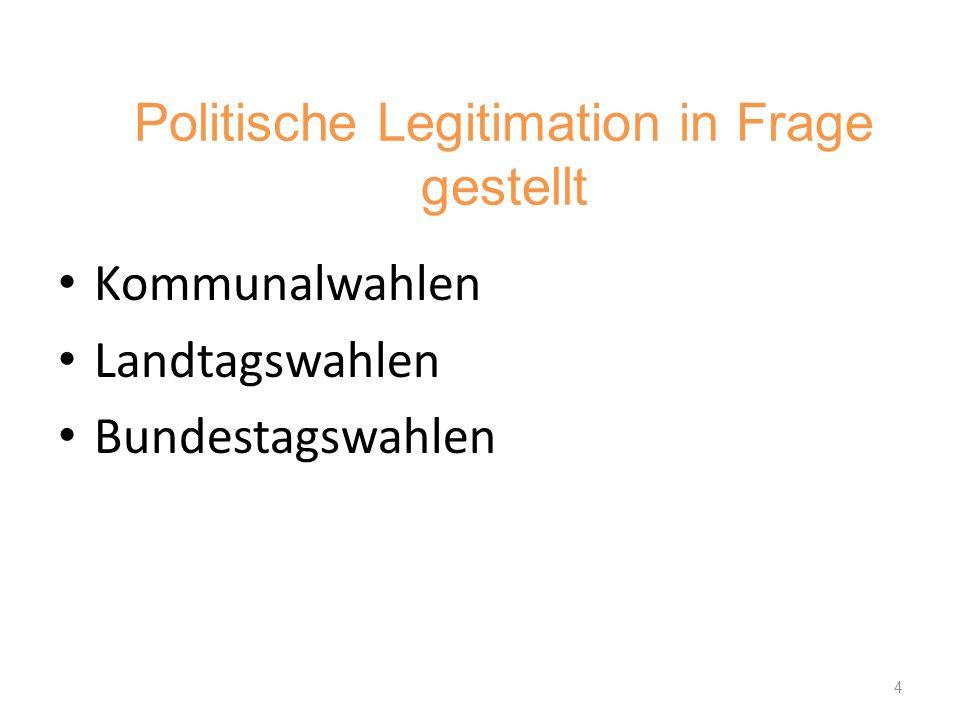 Politische Legitimation in Frage gestellt Kommunalwahlen Landtagswahlen Bundestagswahlen 4